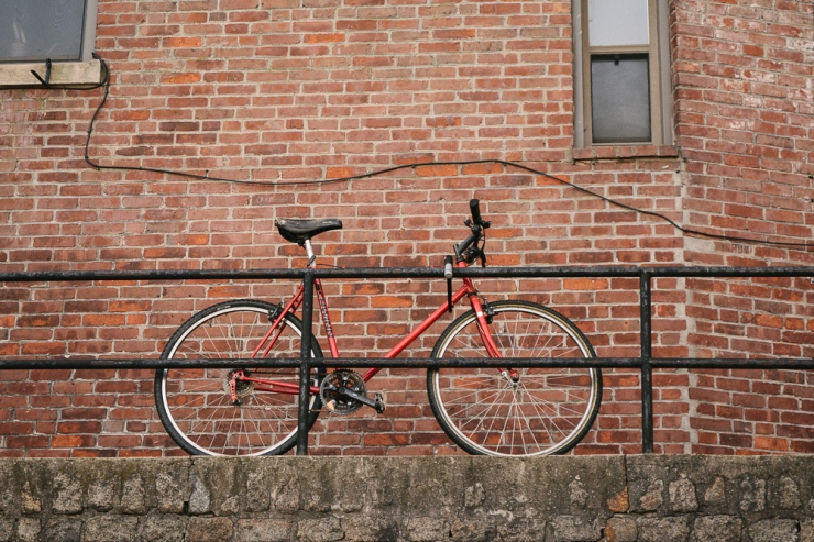 red bike and wall-